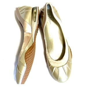 Cole Haan Gold Flats Nike Sole Walking Shoes